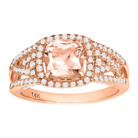 1 1/2 ct Morganite & 1/2 ct Diamond Ring