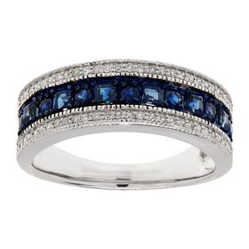 3/4 ct Sapphire & 1/6 ct Diamond Band Ring