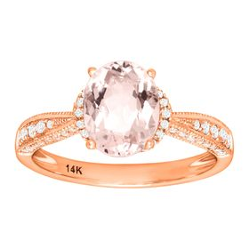 Morganite & 1/4 ct Diamond Ring
