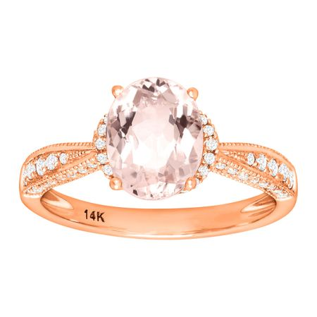 1 3/4 ct Morganite & 1/4 ct Diamond Ring
