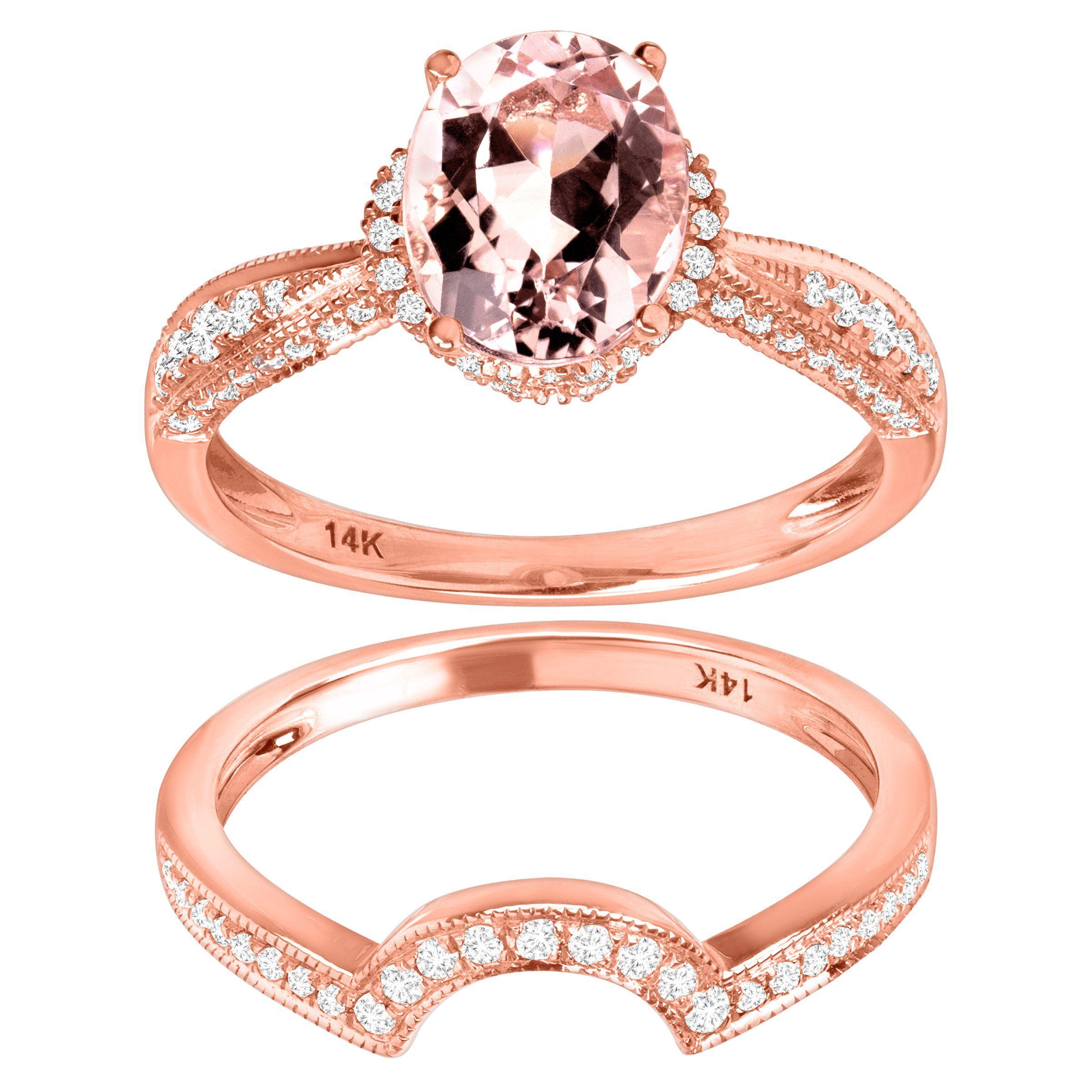 1 3/4 Ct Natural Morganite & 3/8 Ct Diamond Engagement