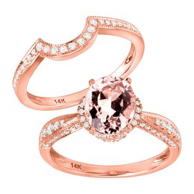 1 3/4 ct Morganite & 3/8 ct Diamond Engagement Ring Set