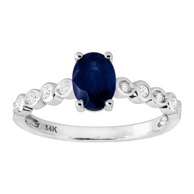 Sapphire & 1/10 ct Diamond Engagement Ring