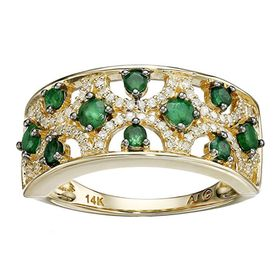5/8 ct Emerald & 1/5 ct Diamond Band Ring