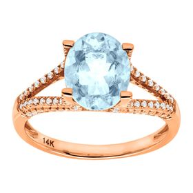 2 1/5 ct Aquamarine & 1/4 ct Diamond Ring