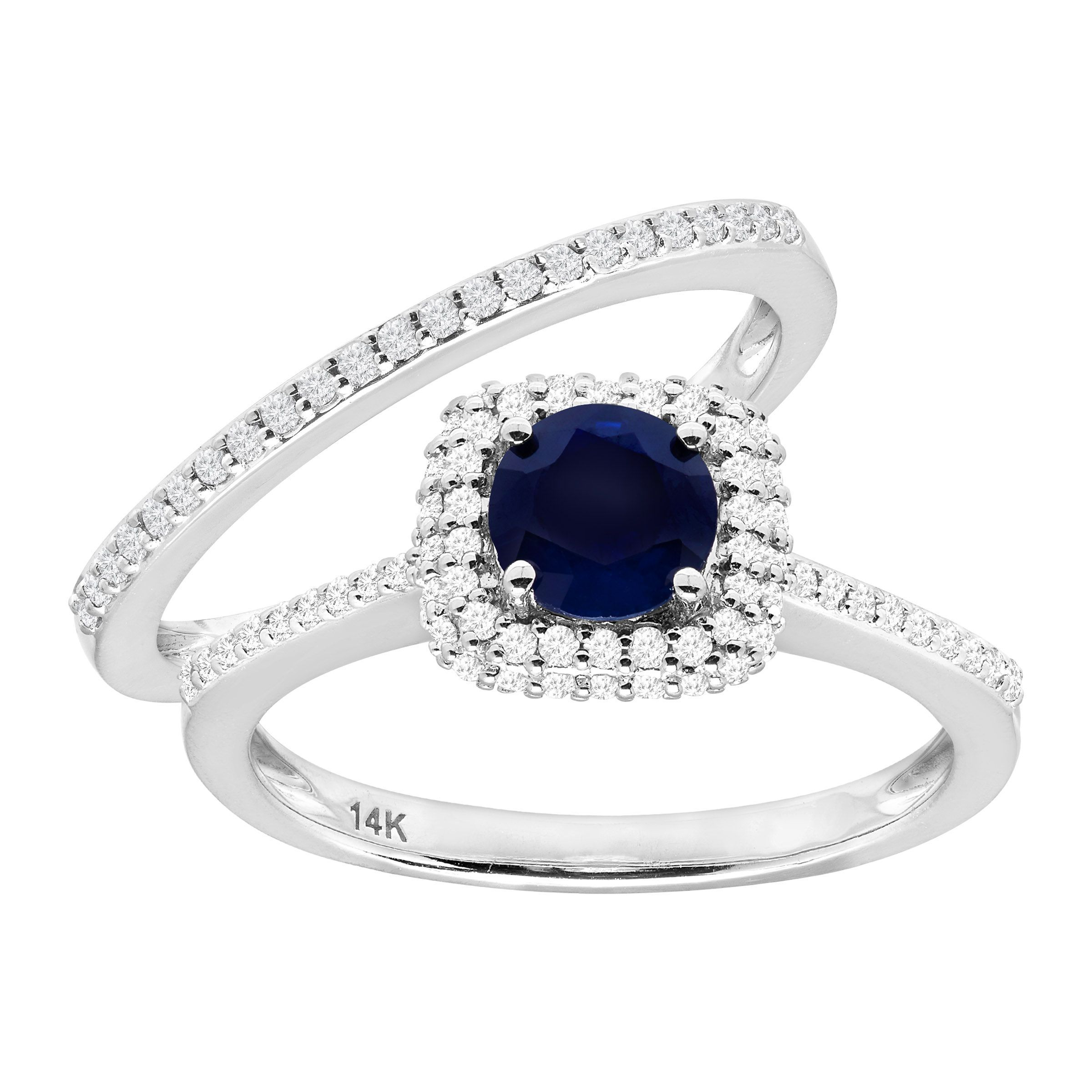 7 8 ct natural sapphire 1 2 ct diamond engagement ring. Black Bedroom Furniture Sets. Home Design Ideas