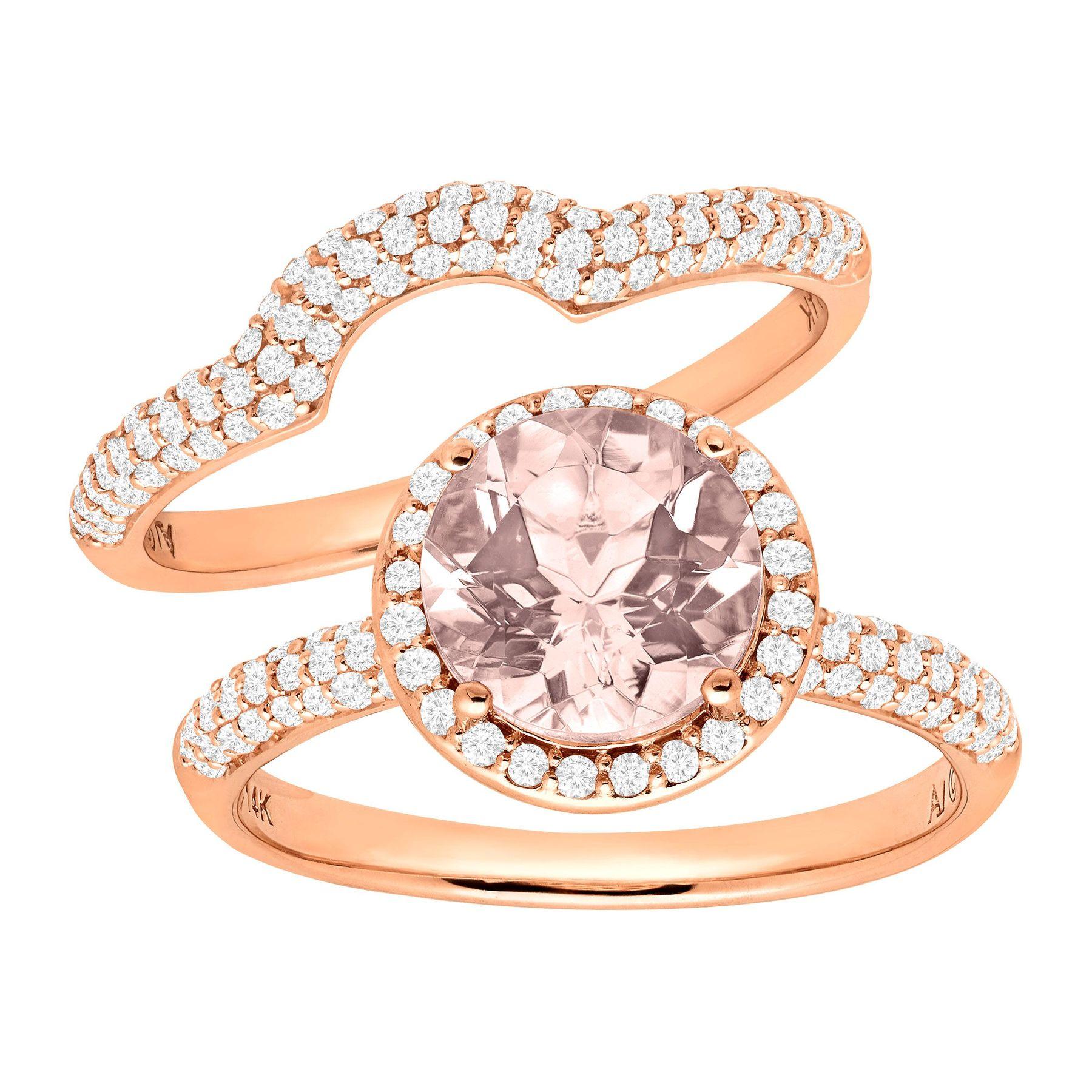 1 7 8 ct Natural Morganite & 5 8 ct Diamond Bridal Set in 14K Rose