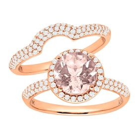 1 7/8 ct Morganite & 5/8 ct Diamond Bridal Set