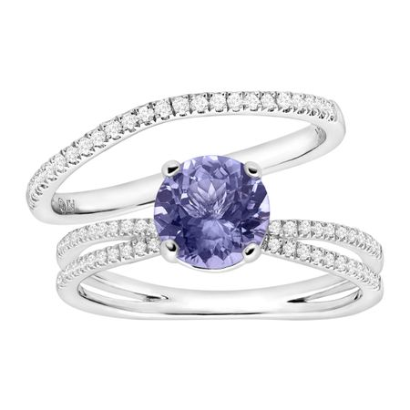 1 1/4 ct Tanzanite & 1/4 ct Diamond Engagement Ring Set