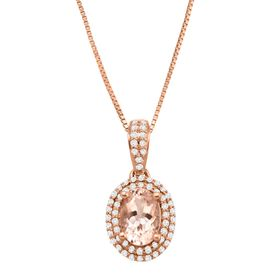 3/4 ct Morganite & 1/5 ct Diamond Oval Pendant