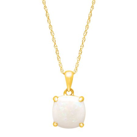 1 12 ct cushion cut natural opal pendant necklace in 14k yellow 1 12 ct opal pendant aloadofball Images