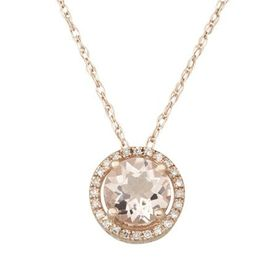 1 1/4 ct Morganite Halo Pendant with Diamond Accents