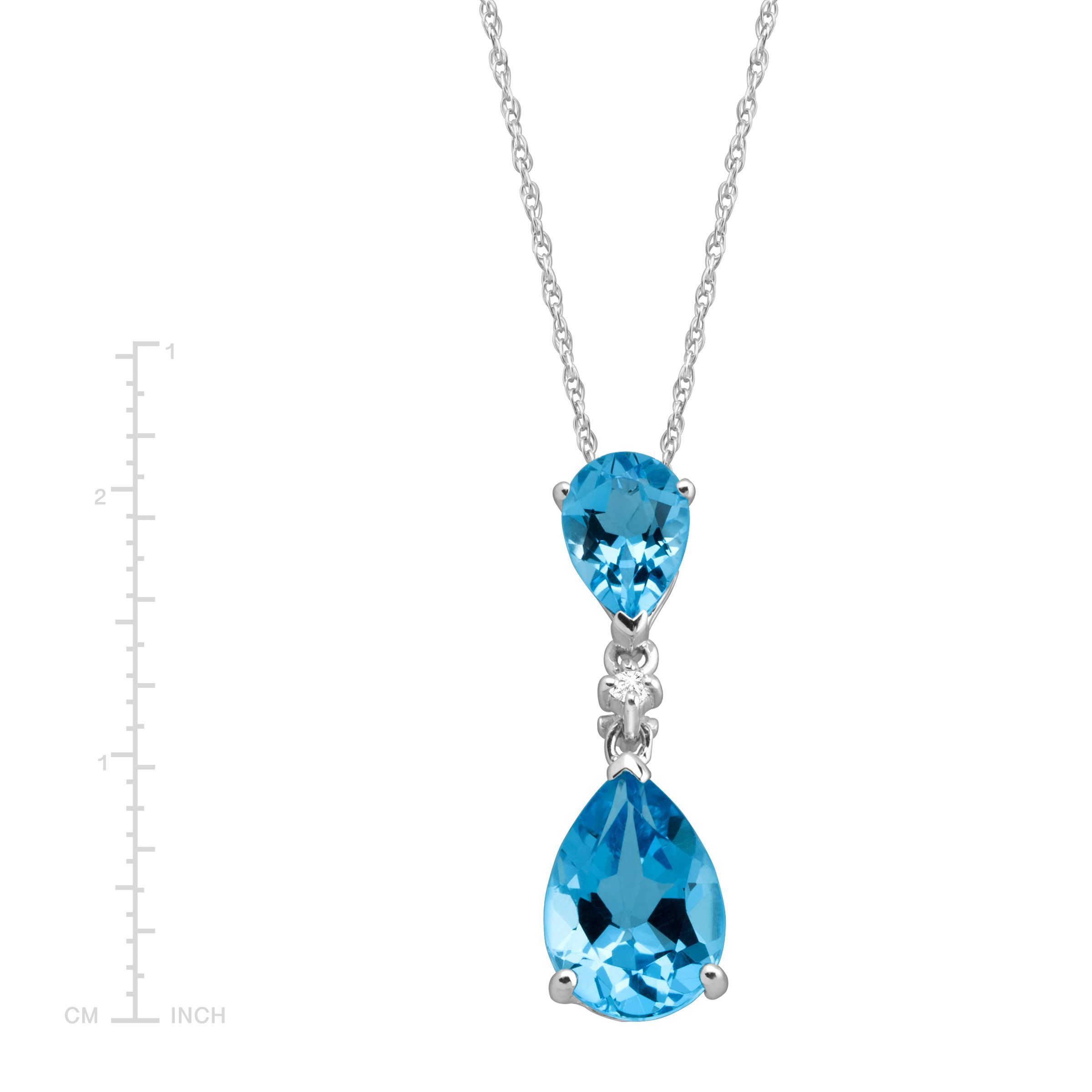 631ce092bb2e27 3 ct Natural Swiss Blue Topaz Double Drop Pendant with Diamond in 14K White  Gold