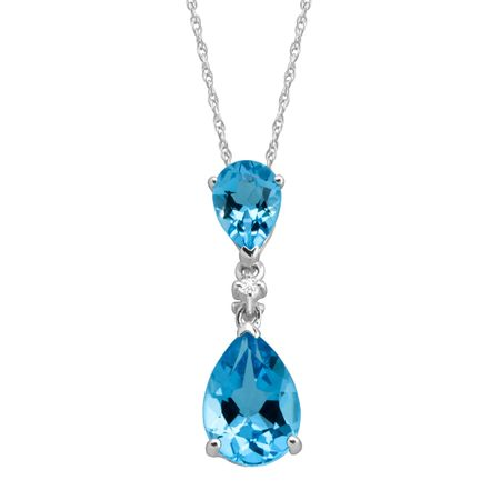 bc395a031e108b 3 ct Natural Swiss Blue Topaz Double Drop Pendant with Diamond in ...