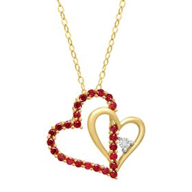 1/2 ct Ruby Double Heart Pendant with Diamond