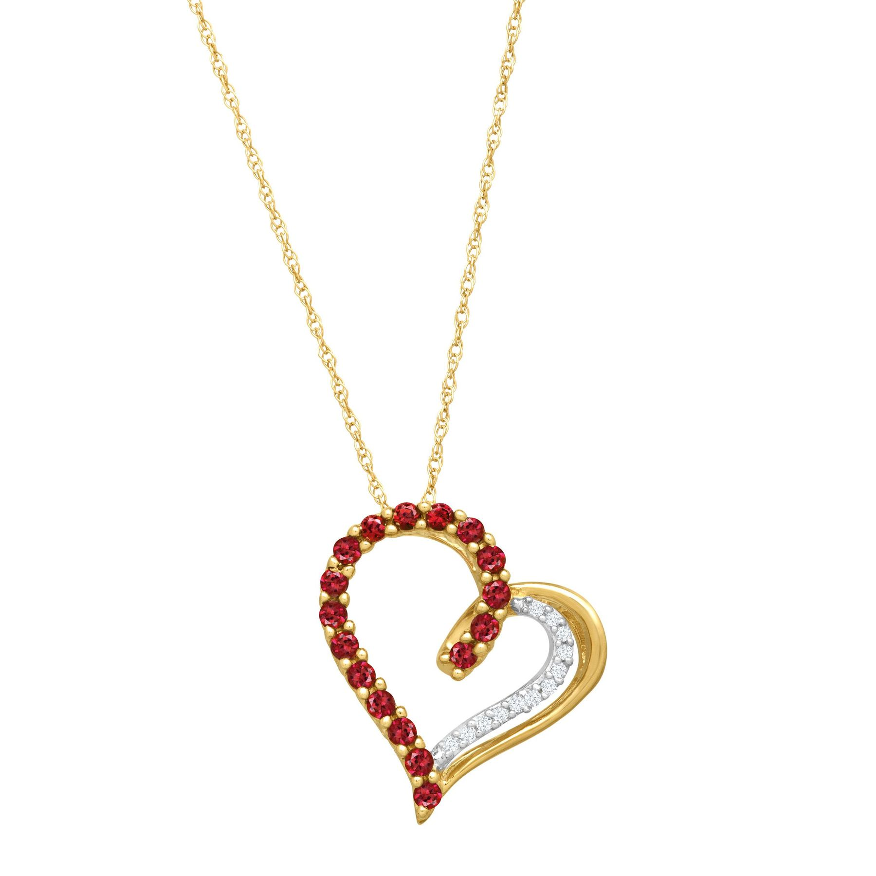 13 ct created ruby heart pendant necklace with diamonds in 14k gold 13 ct ruby heart pendant necklace with diamonds aloadofball Image collections