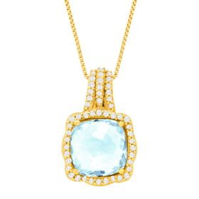 1 7/8 ct Aquamarine & 1/6 ct  Diamond Pendant