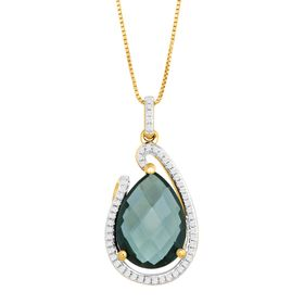 6 1/6 ct London Blue Topaz & 1/6 ct Diamond Pendant