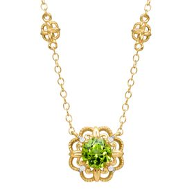1 ct Peridot Rosette Necklace with Diamonds