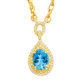 2 1/4 ct Blue Topaz & 1/3 ct Diamond Necklace