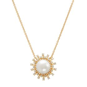 9-9.5 mm Pearl & 1/8 ct Diamond Sunburst Pendant