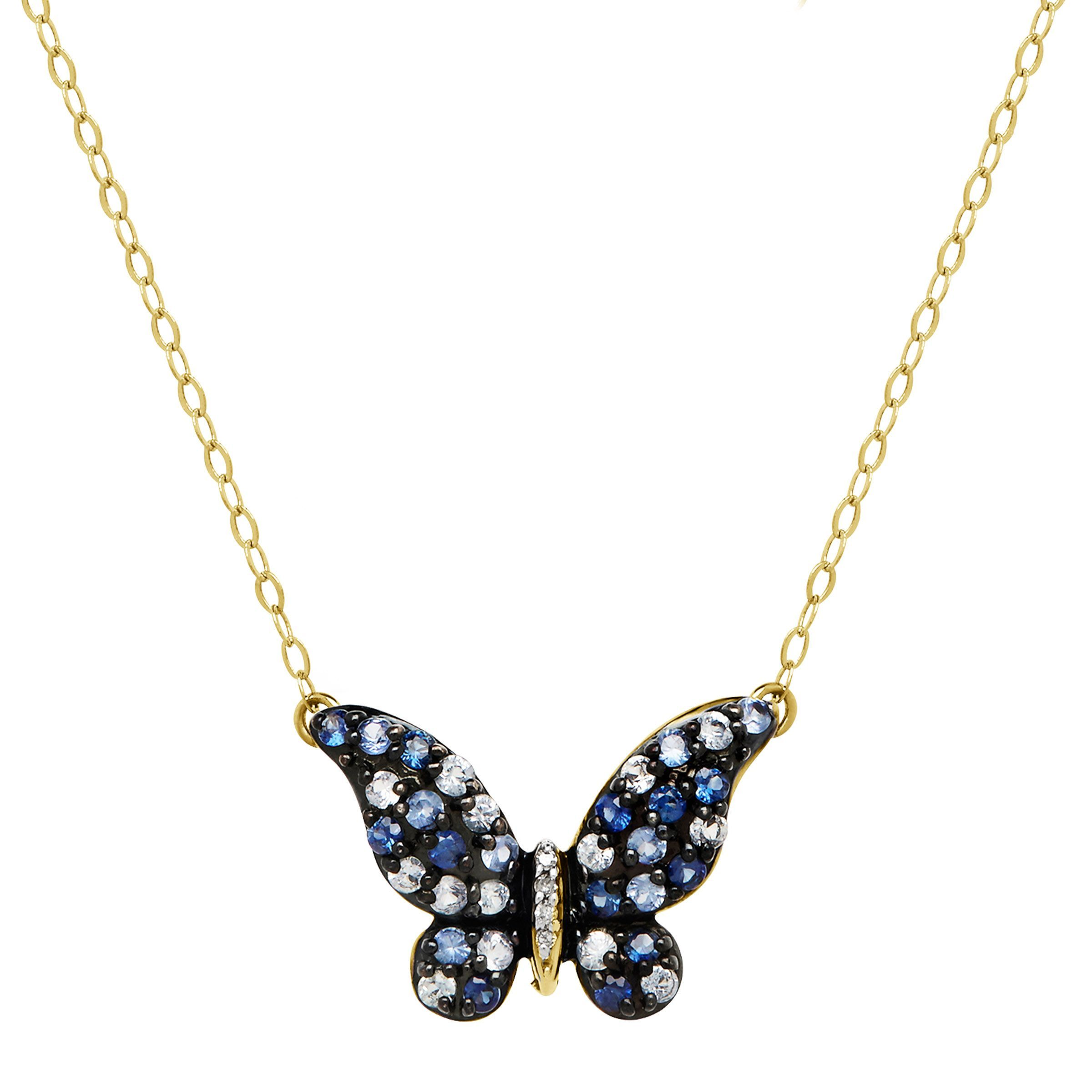 gold necklace ct in diamond details sapphire butterfly and natural itm about