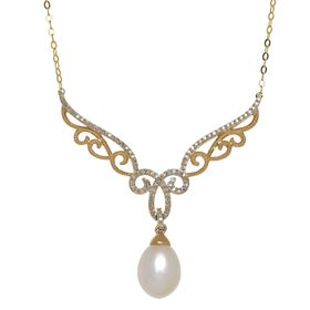 Pearl & 1/5 ct Diamond Filigree Garland Necklace