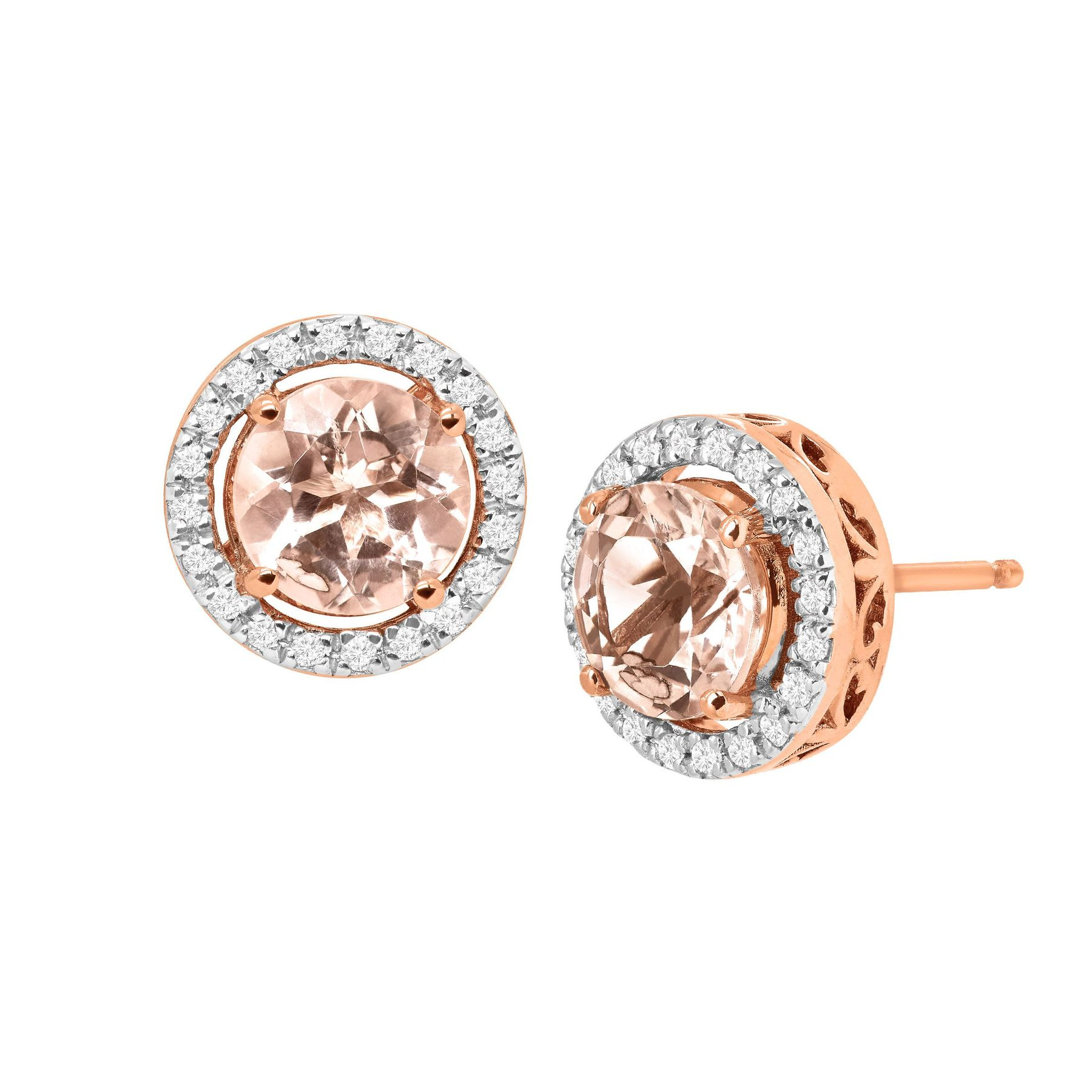 gold rogers hollands save earrings in rose stud morganite