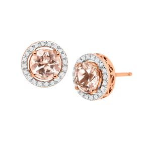 1 1/2 ct Morganite & 1/8 ct Diamond Halo Stud Earrings