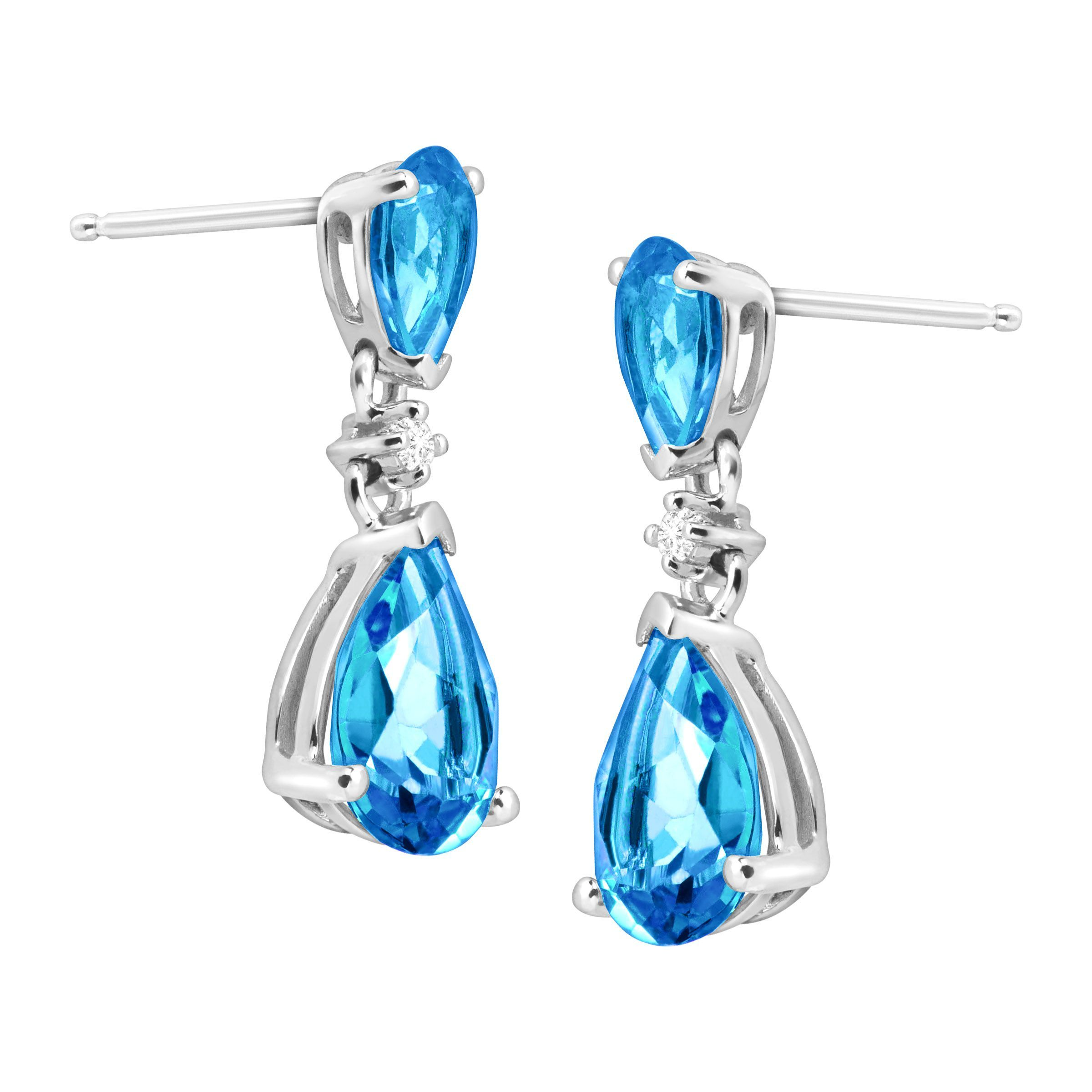 3 7 8 ct natural swiss blue topaz drop earrings with. Black Bedroom Furniture Sets. Home Design Ideas