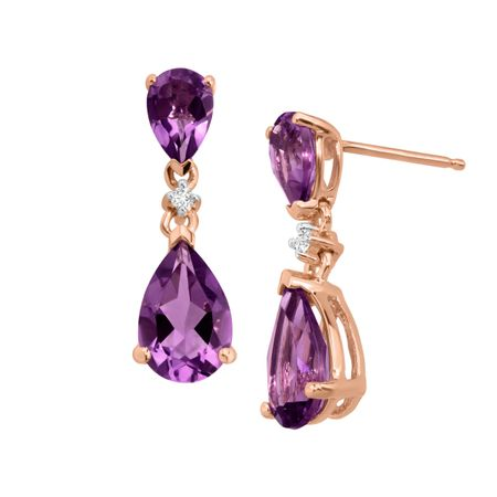 2 7/8 ct Amethyst Drop Earrings with Diamonds