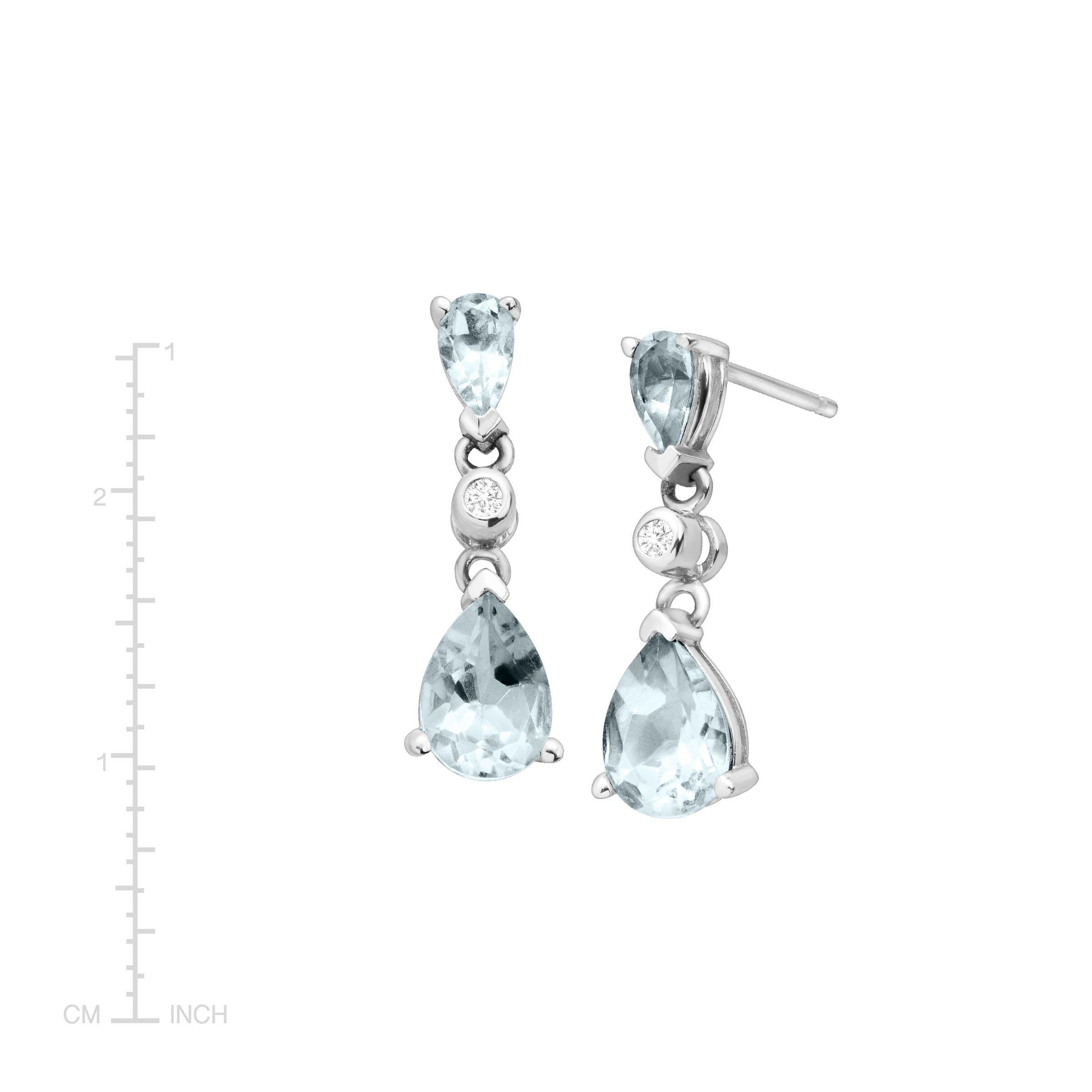 1 2 Ct Natural Aquamarine Drop Earrings With Diamonds In 14k White Gold