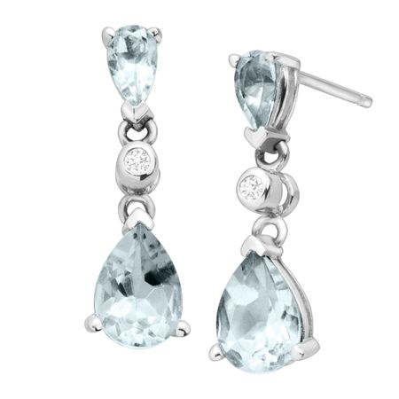 1 1/2 ct Aquamarine Drop Earrings with Diamonds