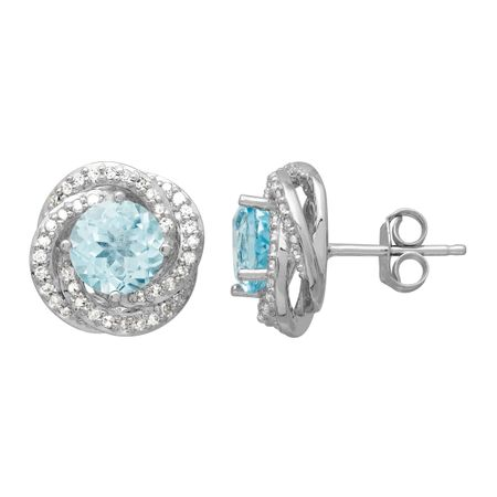 2 ct Sky Blue Topaz & 1/5 ct Diamond Stud Earrings