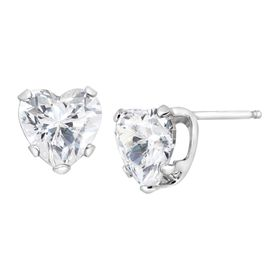 2 ct Cubic Zirconia Heart Stud Earrings
