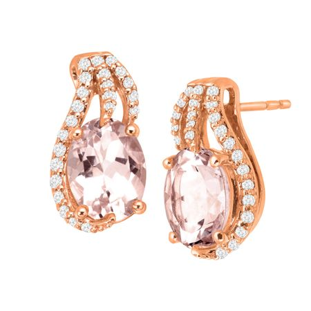 2 1/5 ct Morganite & 1/5 ct Diamonds Stud Earrings
