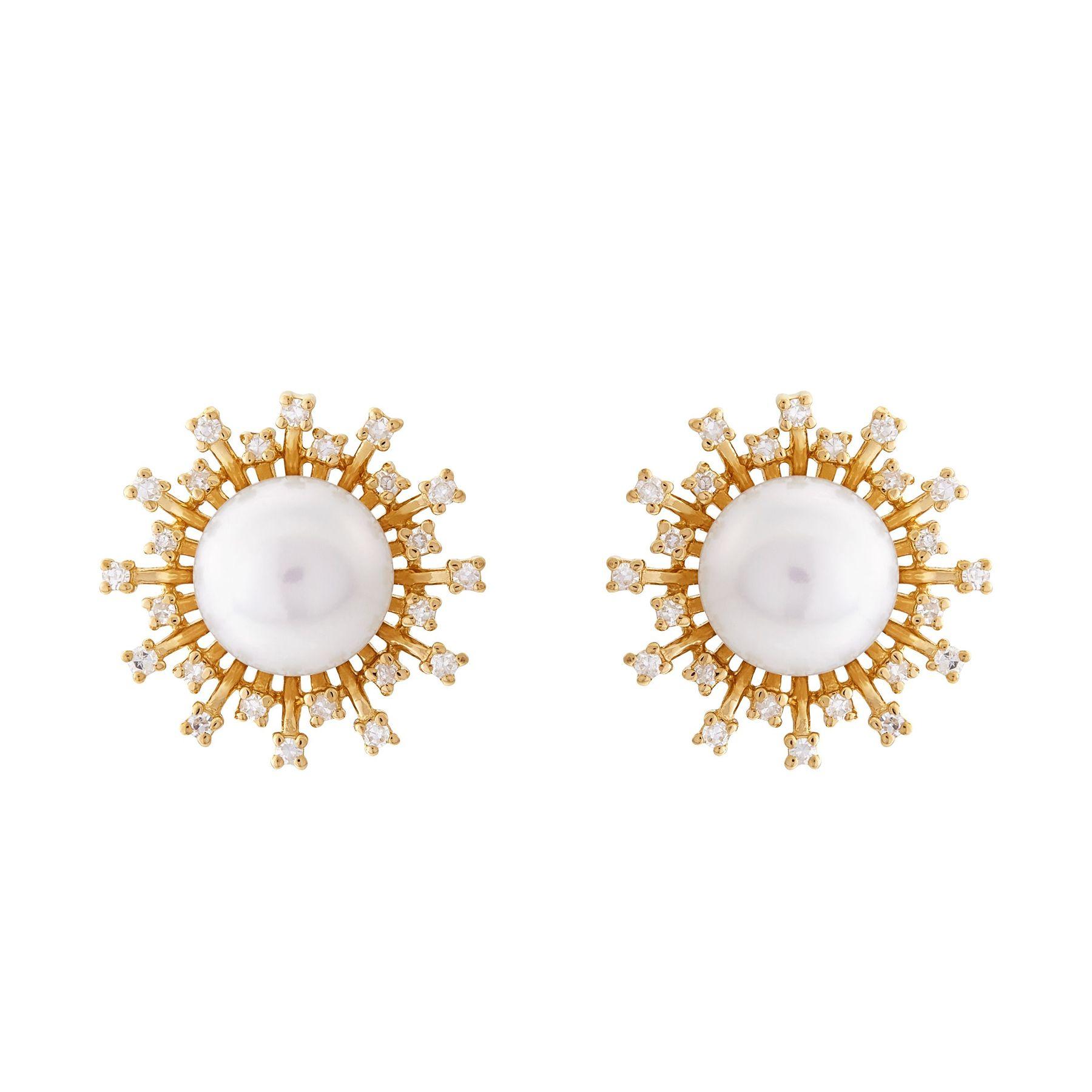 daa1bef2e Honora 7-7.5 mm Freshwater Pearl & 1/5 ct Diamond Sunburst Earrings ...