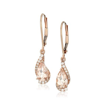 Morganite & 1/8 ct Diamond Lever Back Earrings