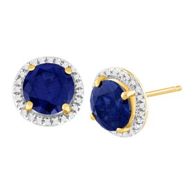 3 1/5 ct Sapphire & 1/10 ct Diamond Stud Earrings