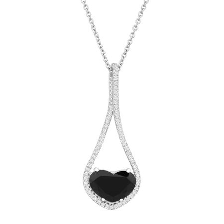 Natural black jade heart pendant with cubic zirconia in sterling black jade heart pendant with cubic zirconia mozeypictures Choice Image