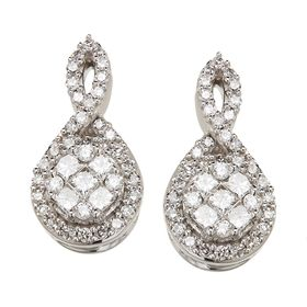 1/2 ct Diamond Twist Drop Earrings