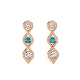Round London Blue Topaz 14K Rose Gold Earrings with Diamond