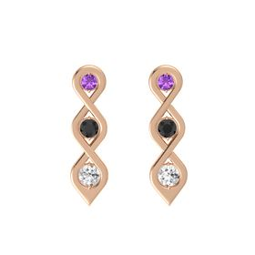Round Black Diamond 14K Rose Gold Earrings with Amethyst & White Sapphire