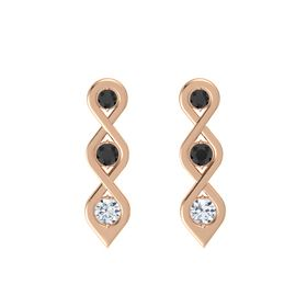 Round Black Diamond 14K Rose Gold Earring with Black Diamond and Diamond