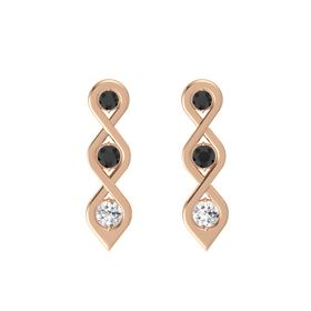 Round Black Diamond 14K Rose Gold Earring with Black Diamond and White Sapphire