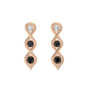 Round Black Diamond 14K Rose Gold Earring with Diamond and Black Diamond