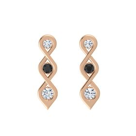 Round Black Diamond 14K Rose Gold Earring with Diamond