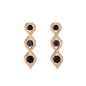 Round Black Diamond 14K Rose Gold Earring with Black Onyx