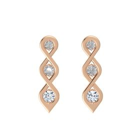 Round Rock Crystal 14K Rose Gold Earring with Rock Crystal and Diamond