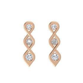 Round Rock Crystal 14K Rose Gold Earring with Diamond